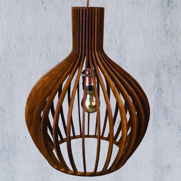 Lustra din lemn nuc deschis Hazel handmade 100% produsa in Romania. Alege dintr-o gama variata de lustre rustice pentru foisor sau pentru casa ta
