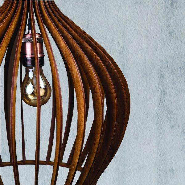 Lustra din lemn nuc Hazel handmade 100% produsa in Romania. Alege dintr-o gama variata de lustre din lemn pentru foisor sau pentru casa ta