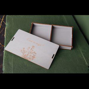 Cutie mica lemn cu 2 compartimente si model cu flori - Alege-o ca pe o cutie cadouri, cutie cu amintiri sau cutie cu poze - Producator cutii lemn