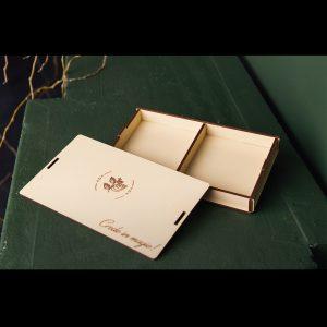 Cutie mica lemn handmade cu 2 compartimente si model si mesaj - Alege-o ca pe o cutie cadouri, cutie cu amintiri sau cutie cu poze