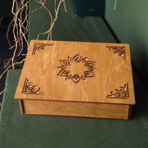 Cutie din lemn handmade pentru cadou cu 2 compartimente si model si mesaj - Alege-o ca pe o cutie cadouri, cutie cu amintiri sau cutie cu poze