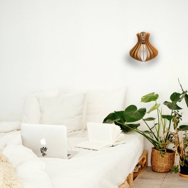 Aplica din lemn Caliope de culoare Brown - Aplica perete din lemn handmade 100% Romania