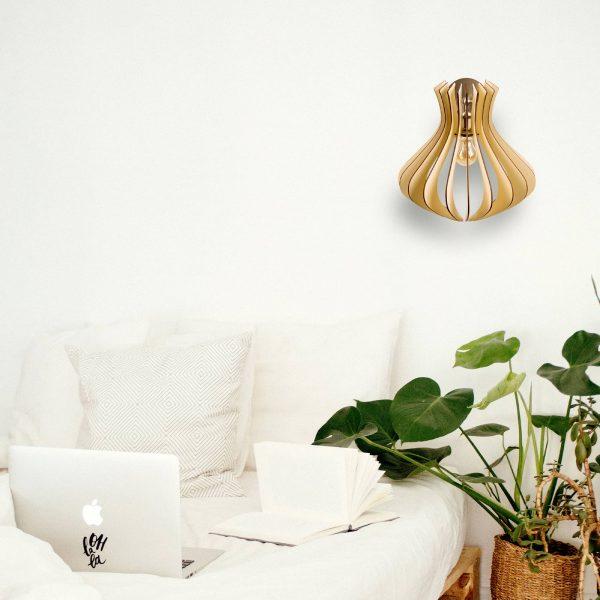 Aplica din lemn Caliope de culoare Crem - Aplica pentru perete din lemn ieftina handmade 100% Romania
