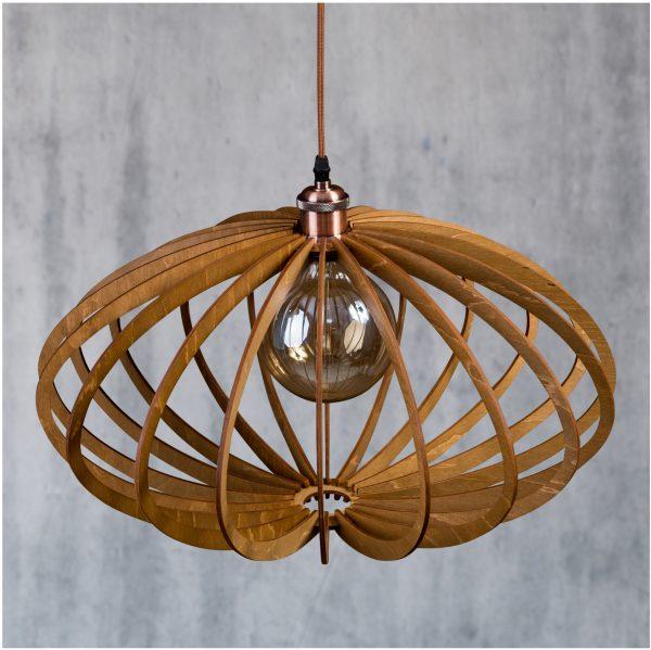 Lustră din lemn Enkata culoare nuc deschis - Lustre din lemn handmade fabricate in Romania la pret mic